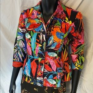 Chico's size 1 Tropical Print 3/4 sleeve jacket